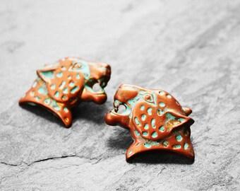 Leopard Earrings, African Earrings, African Leopard, African Cat, Afropunk, Solid Brass Cat, Post Earrings, Sleek Leopard Brass Earrings V2