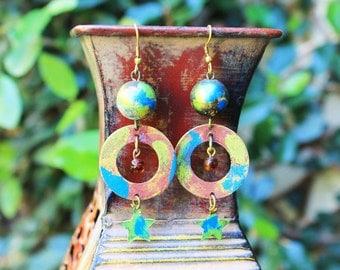 Vintage Brass Earrings, Hand Painted Brass Earrings, Colorful Earrings, Hoop Earrings, Stars Earrings, Galaxy Hand Painted Brass Earrings