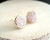 Wedding earrings White Druzy earrings Stud earrings Post earrings Round Under 55 Vitrine Designs