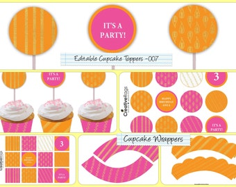 Editable PDF Faux Gold Foil Orange Pink Printable Cupcake Wrappers and Toppers For Birthday Parties/Celebrations/Weddings  CCWT-007