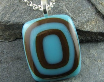 Turquoise and Brown Glass Pendant / Handmade Fused Glass Jewelry / Trendy Jewelry / Fused Glass Jewelry / Earthy Necklace
