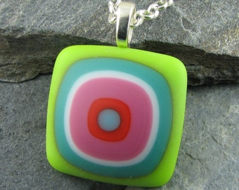 Funky Colorful Bullseye Matte Finish Glass / Fused Glass Necklace / Colorful Pendant / Fused Glass Pendant / Modern Jewelry