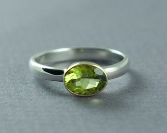 Peridot Ring, Gold Silver Ring, Peridot Oval Stone, Green Stone Ring, August Birthstone Jewelry, Made to Order, Free Courier Shipping