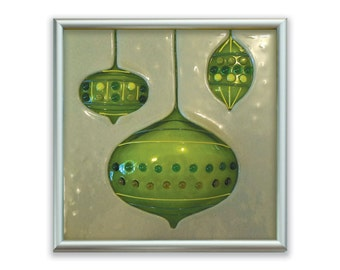 Ornaments Fused Glass Art Tile in Cream/Lime Green
