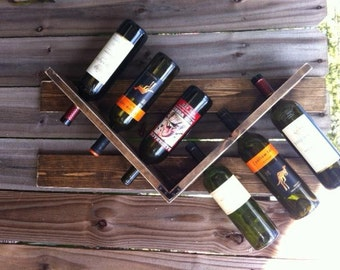 Wooden wall mounted wine rack that holds 6 bottles.. Home decor. Christmas Gift, Wedding Gift