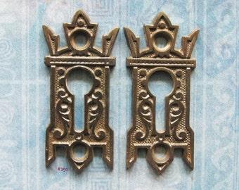 Gothic Black Escutcheon Eastlake Armoire Antique Furniture Keyhole Hardware Key Plates Medieval Gryphon Wing Embellishment