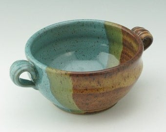 Handmade Pottery Serving Bowl, Honey Brown & Jewel Blue Fruit Bowl with Handles, Sold Singly, Ready to Ship