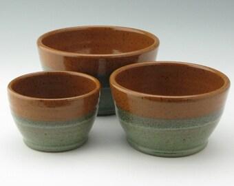 Handmade Pottery Nesting Bowl Set, Cinnamon & Sage Green Three-Piece Mixing Bowl Set, Sold Singly, Ready to Ship