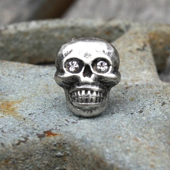 Tie Tack - Little Skull with Rhinstone Eyes