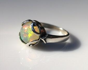 Ethiopian Fire Opal Ring - Sterling Silver Size 7 - Opal Ring - Opal Jewelry