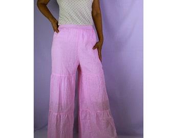 Sale Sweet Pink Cotton Patchwork Elastic Waist Wide Legs Long Pants  Size S,M (P 11)