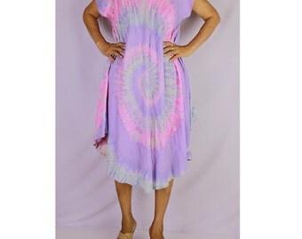 Women Maxi Gypsy Boho Hippie Summer Beach Tie Dye Rayon Comfy Dress (TD 20)