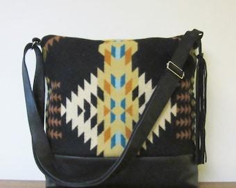 Large Cross Body Bag Messenger Shoulder Bag Purse Black Leather Adjustable Strap Native American Blanket Wool Possible Laptop Bag