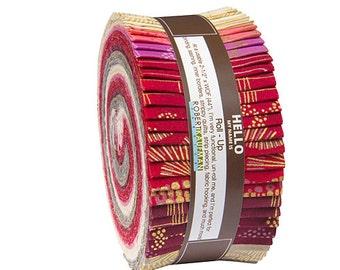 "Robert Kaufman SPARKLE WARM Metallic Roll Up 2.5"" Fabric Quilting Strips Jelly Roll Studio RK ru-492-40"