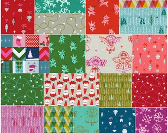 "Cotton + Steel GARLAND Precut 5"" Charm Pack Fabric Quilting Cotton Squares Christmas"