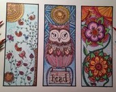DIY Printable Coloring Page BOOKMARKS - Instant PDF Digital Download - Happy Bookmark Trio B - Set Of 3 - Adults - Children