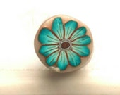 Deep Blue Green Flower Cane, Raw Polymer Clay Cane, Unbaked Millefiore
