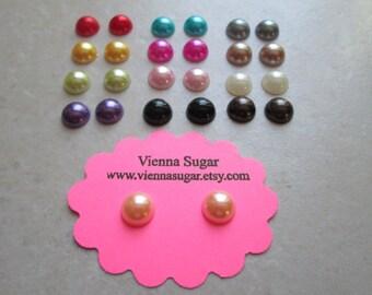 8 mm Faux Pearl Color No Pierce Magnetic Earrings
