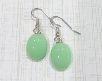Mint Green Earrings, Pierced Dangle Earrings, Hypoallergenic, Pastel Fused Glass Jewelry, Ear - Adoree- 150 -5