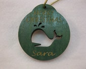 Personalized wooden christmas cut out Whale ornament or gift tag