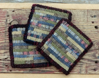 Primitive Rug Hooking - 3 Hand Hooked Hit or Miss Wool Coasters (Free Shipping)