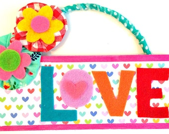 Colorful Wooden LOVE Sign for Valentines Day -- YOU Pick