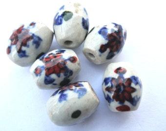 10 Beads, VINTAGE ceramic porcelain beads handmade, hand painted, 18mmx15mm