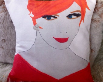 "madmen pillow cover  red head mid century print  16x16"" joan mid century fashion home decor pinup"