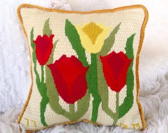 Vintage needlepoint tulip pillow gold velvet red green home decor throw pillow