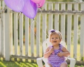 Baby Girl Lace Romper Headband Necklace SET, Purple & Lavender,  Petti Romper and Headband, Baby Outfit, Easter, Photo Prop, Cake Smash