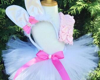 Girls Bunny Costume - Halloween Tutu Costume - Bunny Ears, Tutu and Leg Warmers