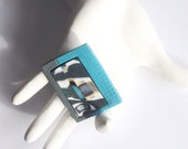Reserved for katew Turquoise Abstract Art Polymer Clay Brooch