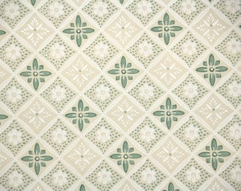 1940s Vintage Wallpaper by the Yard - Green White and Cream Geometric