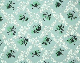1950s Vintage Wallpaper by the Yard - Ivy Wallpaper with Green and Black Leaves on White and Blue