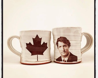 Wheel thrown mug with image Canadian Prime Minister Justin Trudeau