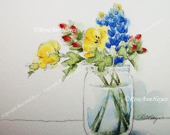 Bluebonnets Indian Paintbrush Primrose Watercolor Painting Print Wildflowers Flowers Floral Bouquet Garden