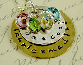 Stacked Custom Mom Grandma Necklace - Hand Stamped Personalized Jewelry - Mommy Mother Grandmother Nana Nonna