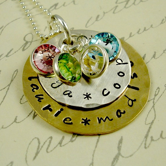 Grandma  Mom Sterling Silver Gold Necklace Mothers Day Jewelry Children Mixed Metals  Birthstones Personalized