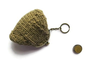 Coffee Brown Cotton Kiss Lock Coin Purse, Small Purse Knitted, Keychain, Clasp, Knit Pouch, Cute, Womens Accessories, Change, Gifts Under 20