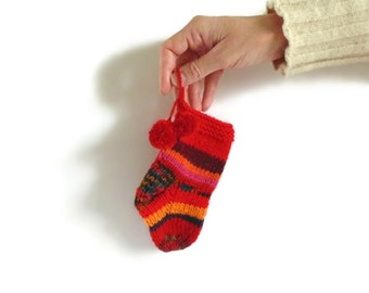 Red Orange Wool Christmas Hand Knit Stocking Stuffer, OOAK, Decoration, Props, Ornament, Pom Pom Sock, Cute, Small Gifts, Gifts Under 25