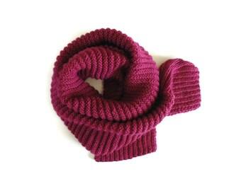 Burgundy Wool Knit Scarf, Cute Wrap Scarf, Mens Womens Scarves, Hand Knit Long Scarf, Winter Scarf, Unisex Scarf, Warm Scarf, Ready to Ship