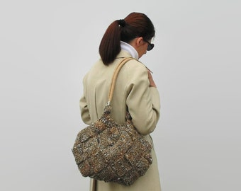 Shoulder Tote Bag Hand Knit in Beige Gray Tweed Wool - Woman Hobo Bag