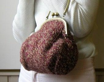 Burgundy Evening Knit Purse, Tweed Top Handle Knit Bag, Small Kiss Lock Purse, Wool Handbag, Womens Handbags, Ladies Purses, Wristlet Purse