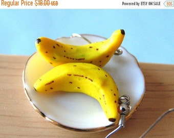 Christmas in July - Banana Earrings, Food Jewelry, Banana Jewelry, Miniature Food
