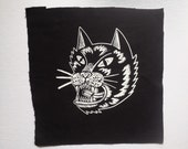 Cat Black and White Large Punk Patch, Black Canvas Back Patch, angry cat