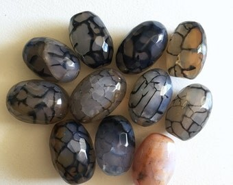 Black Fire Agate Faceted Egg Beads