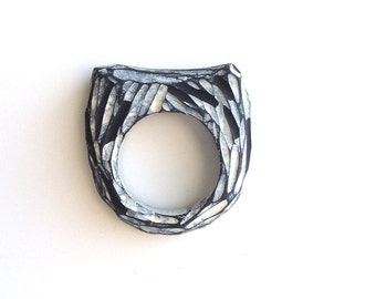 Hand carved ring, black, inverse, textured