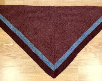 Burgundy and Gray Heather Hand Knit Triangular Stripe Rent Shawl Wrap