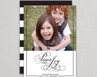 "Christmas Photo Card - ""Elegance - Bold Stripes"" 2 sided printing!"