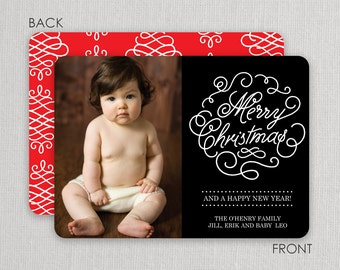 "Christmas Photo Card - ""Ornamental"" 2 sided printing!"